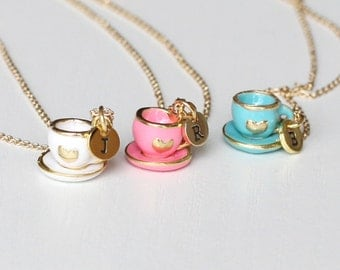 tea set necklace, initial necklace tiny pink tea pot jewelry, cooking party jewelry,tea party necklace,mini coffee pot necklace gift for mom