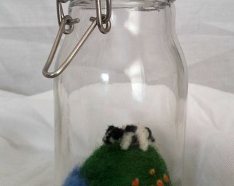 Miniature needle felted Cow in a Bottle