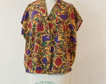 80s graphic floral shirt