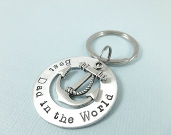 Fathers Day gifts,Dad, gifts for dads, anchor, Best dad in the world, keychain for dad