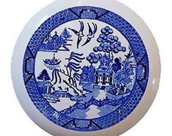 Blue willow design Ceramic Knobs Pulls Kitchen Drawer Cabinet Vanity Closet