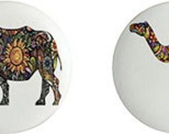 Jungle Safari Animals Ceramic Knobs Set of  4 Elephant, Camel, Rhino, Antelope