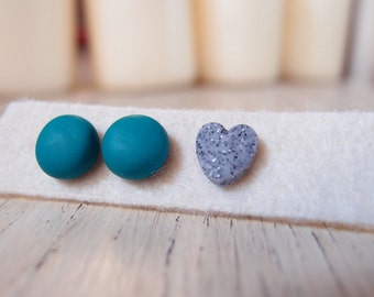 Green Button earrings, fimo earrings, jewelry with heart, St. Patrick's Gift, gift Idea for colleague, Jewelry made In Italy