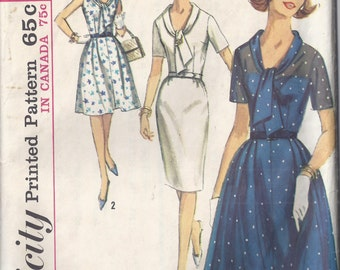 Vintage Simplicity Pattern # 5891 1965 Dress with Two Skirts Pleated or Slim