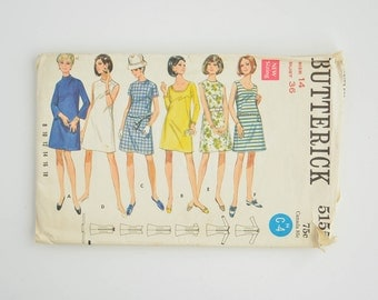 1960's Vintage Sewing Pattern - Butterick 5155 - Ladies One Piece Dress - Size 14 - Bust 36