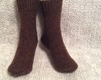 100%  wool socks brown socks handmade  unique luxurious elegant hand knit  natural brown color-, size l