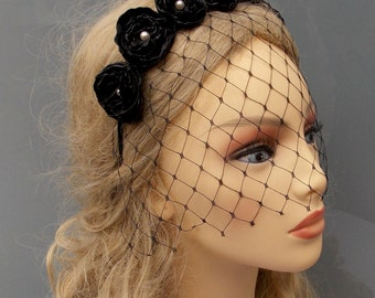 Black headpiece, Black diadem, Veil diadem, Wedding diadem, Wedding headpiece