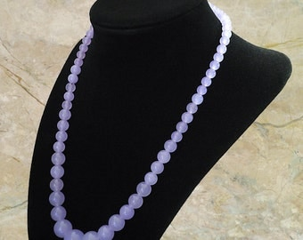 "Light Lavender Jade Necklace, Approx. 18"" Length"
