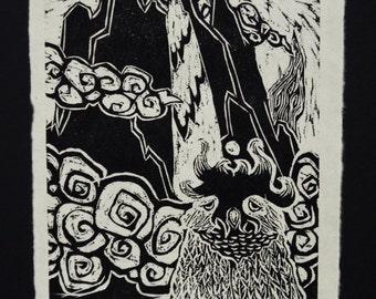 Observation Post Kitakata Natural Woodblock Print