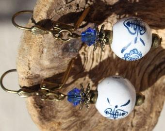 Blue and White Porcelain Tea Earrings