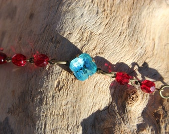 Turquoise and Red Crystal Bracelet