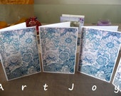 Note card, post cards, print, graphic,floral, Victorian, vintage, blue, aged, pattern,  blank, set,