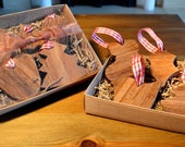 Wooden Christmas decorations gift set handmade from reclaimed wood