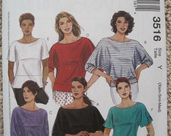 UNCUT Misses Tops - McCalls Sewing Pattern 3516