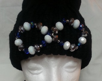 ACCENTED knit beanie hat with ball