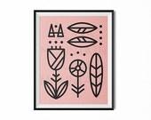Scandinavian flower, Scandinavian art print, modern art, minimal art, black and white art, lines art, pink, flowers print, retro, office