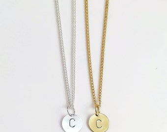 Initial Necklace, Disc Necklace, Hand Stamped on Disc, Personalised Jewellery, Gold Plated Necklace or Silver Plated Necklace