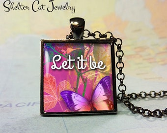 "Let It Be Butterfly Pendant - Purple and Blue - 1"" Square Necklace or Key Ring - Handcrafted Wearable Photo Art Jewelry"