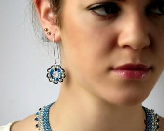 Blue wedding earrings, Something blue earrings, Blue flower earring, Flower dangle earrings, Something blue wedding, Blue beaded earrings
