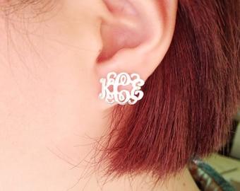 Monogram Earrings Studs,Sterling Silver Initials Earrings,Name Stud Earrings,Monogrammed Gifts,0.6 inch Letter Initial Earrings,