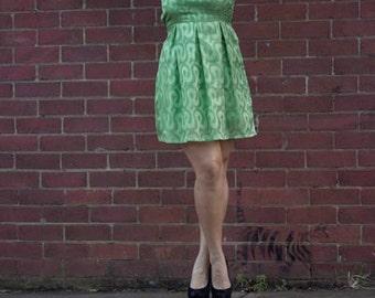 Sheer green party dress - Swirly print; Split back; Cotton lining