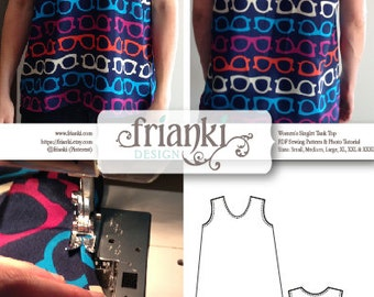 Women's Easy Singlet Tank Top - PDF Sewing Pattern and Photo Tutorial - Sizes Sm, Med, Lg, XL, xxL, xxxL - Instant Download