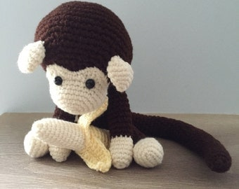 Items similar to Brown monkey amigurumi crocheted toy ...