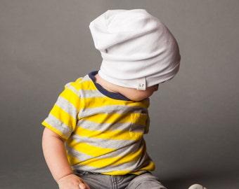 Slouchy Baby Beanie - White
