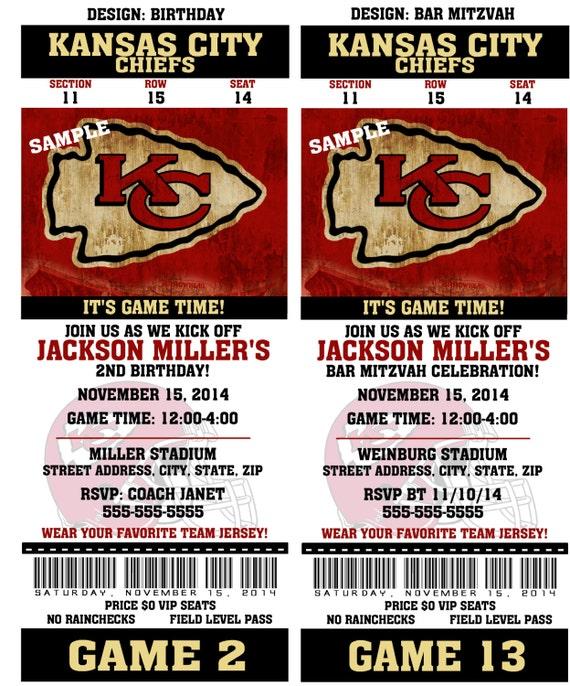 Printable Birthday Party Invitation Card Kansas City Chiefs