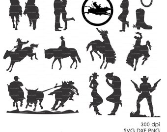 Cowboy Western Silhouettes Clipart (eps, svg, dxf, ai, jpg, png) Vector Digital Cutting File horse wild west Silhouette Cameo EasyCutPrintPD