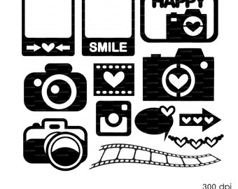 Photo Camera Set (svg, dxf, eps, ai, cdr) Journal Cards, Overlays, Scrapbooking Vector Die Cut Files for cutting machines Silhouette Cameo
