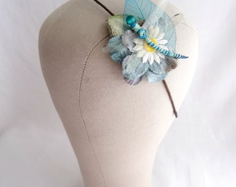 Blue & Green Dragonfly Headband, Dragonfly and Daisy Floral Hairband