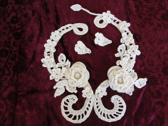 Irish Filigree Crochet Necklace Free Pattern : Vintage Irish Filet Crochet Necklace with earrings. ?Irish ...