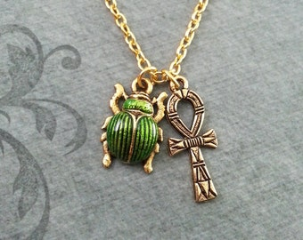 Ankh Necklace SMALL Ankh Jewelry Egyptian Necklace Egyptian Jewelry Scarab Necklace Gold Necklace Green Scarab Beetle Bridesmaid Necklace