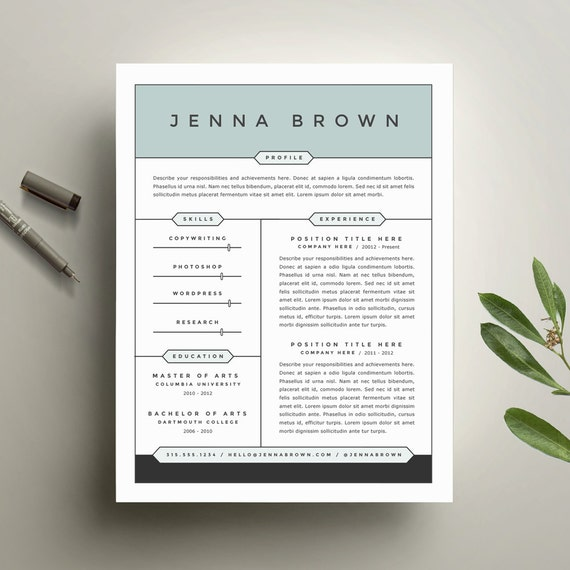 modern resume template and cover letter by refineryresumeco
