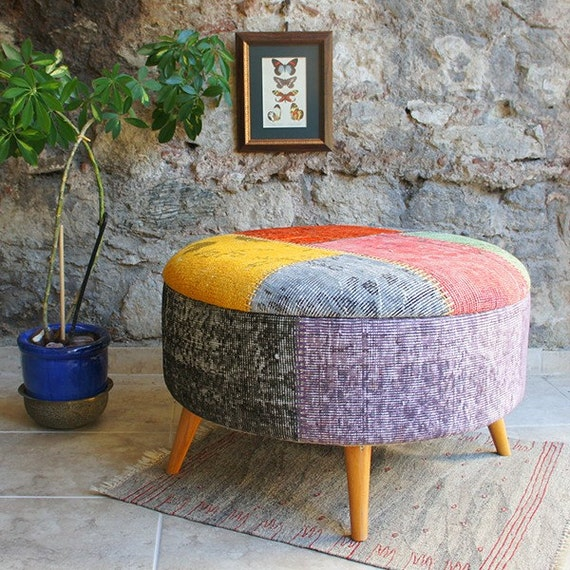 Large Round Ottoman With Overdyed Rug Patchwork By