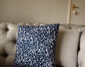 Navy, grass cushion, feather insert included.