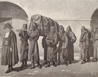 Funeral procession at Lucca, Italy, original 1880 print - Burial - 135 years old French antique engraving illustration (A396)