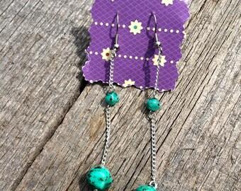 Drop bead earrings - turquoise beads - handmade