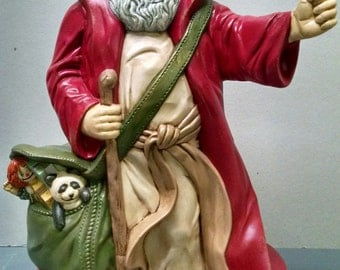 SALE!!!Father Christmas Santa -- Heirloom-quality handpainted ceramic Santa -- Christmas mantel decor