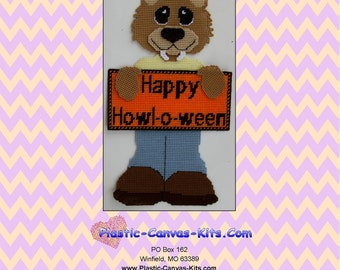 Happy Howl-O-Ween Werewolf Wall Hanging-Halloween-Plastic Canvas Pattern-PDF Download