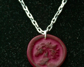 Horse coin necklace in clay
