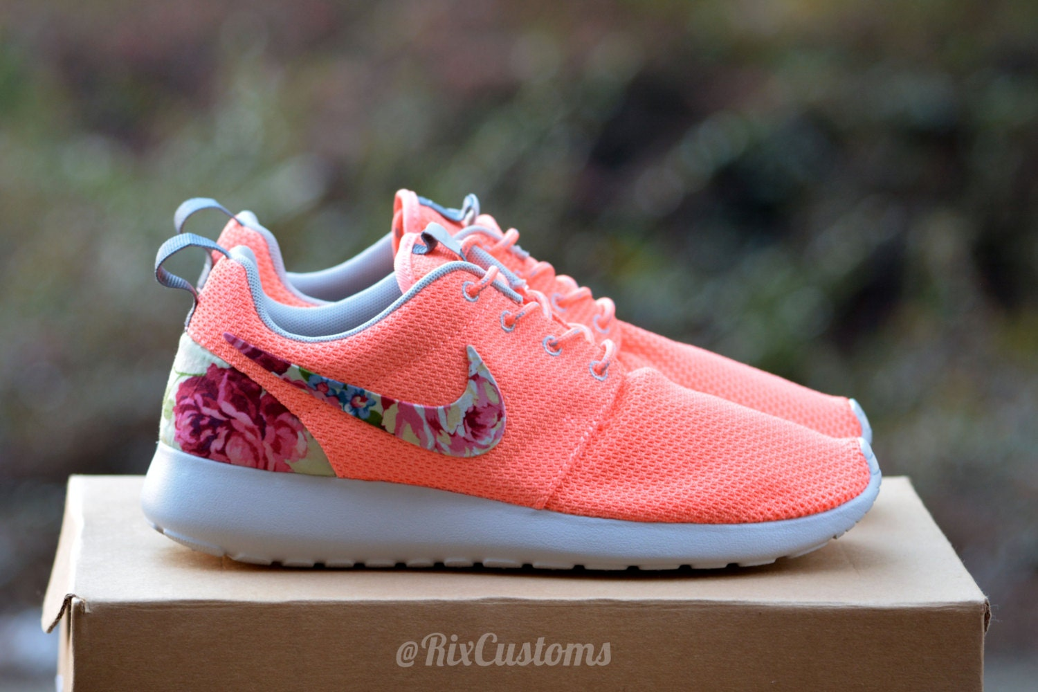 Clearance Floral Nike Roshe Run - Special Offers Unisex Green Blue White Easy Travelling Nike Free Flyknit Cheap Shoes
