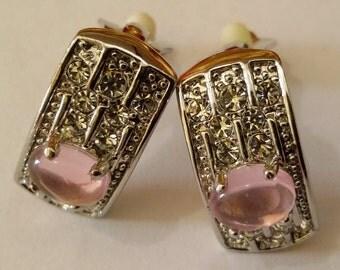 Orecchini alta moda, Hollywood Collection, a clip, rodiati, con motivo a semi cerchio, cristalli Swarovski e centrale in pietra rosa tenue