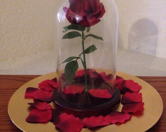 Enchanted Rose with Glass Dome inspired by Beauty and the Beast