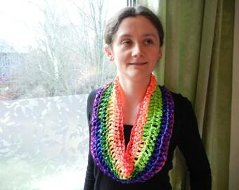 Rainbow infinity scarf, rainbow cowl, satin lint scarf, green scarf, red scarf, purple scarf, yellow scarf, blue scarf, orange scarf
