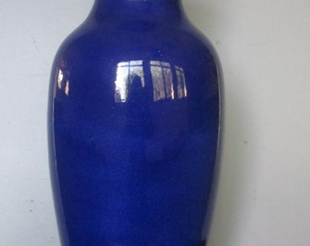 A Great Antique 19 C. Chinese Monochrome Blue Vase W/ Double Rings Qing Dynasty