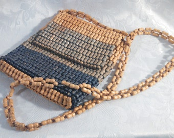 Vintage Shoulder Bag, Wood Beads with Fold Over Flap, Small Mod Purse, Retro Handbag, Circa 1970s