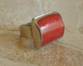 Hand Made Sterling Silver Ring With A Red Coral Center * -20%, till the 20th of March, Apply coupon STARTER before checkout!!!