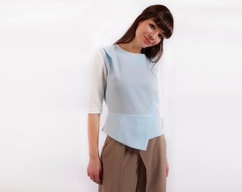 Women Top, Futuristic Clothing, Blue Top, Japanese Clothing, Minimalist Blouse, Office Top, Oversized Top, Bohemian Clothing, Elegant Top
